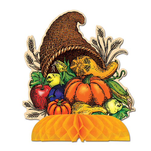 "Club Pack of 12 Fall Thanksgiving Cornucopia Table Centerpiece 9"" - 31560105"