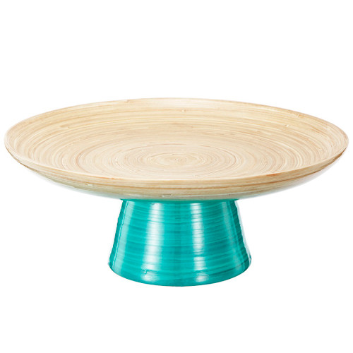 """12"""" Teal and Tan Decorative Ombre Dynasty Bamboo Presentation Pedestal Tray - 32037432"""