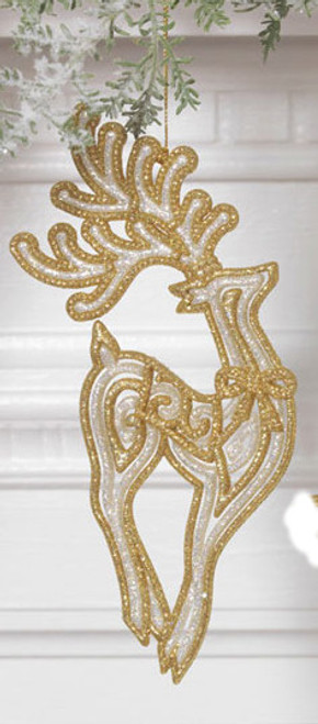 """7"""" Gold And White Glittered Standing Reindeer Christmas Tree Ornament - 30790354"""