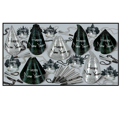 The Sparkling Silver Party Kit For 50 People For New Year's Eve - 31557427