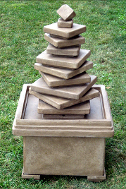 5' Cascading Concrete Stacked Slate Square Outdoor Garden Water Fountain - 15733695