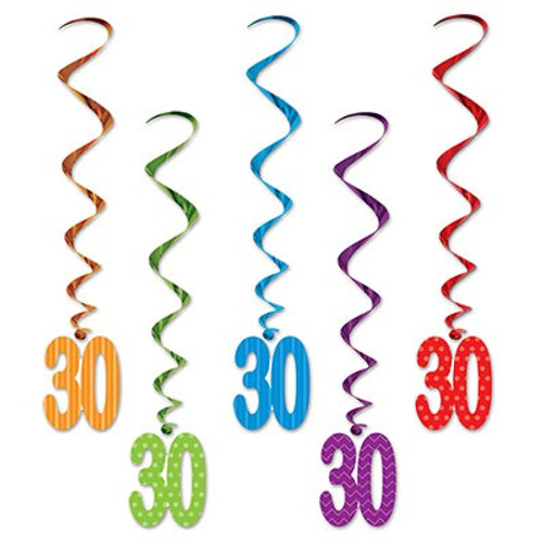 """Club Pack of 30 Multi-Color """"30"""" Metallic Whirls Party Hanging Decorations 3' - 32146797"""