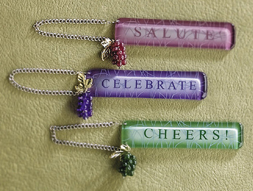 """4.5"""" Wine Theme Green Grapes """"CHEERS!"""" Bottle Tag Christmas Ornament #908334 - 5897400"""