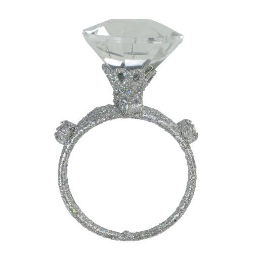 "3"" Diva Glitter Silver Faux-Diamond Three-Band Wedding Ring Christmas Ornament - 16187769"