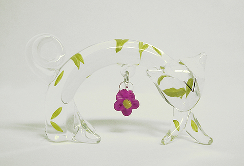 6-Piece Cotton Candy Stretch Cat With Dangle Flower Glass Figurine #59060 - 5243830