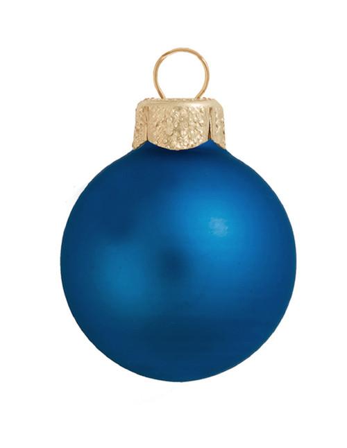 """6ct Matte Cobalt Blue Glass Ball Christmas Ornaments 4"""" (100mm) - 30939846"""