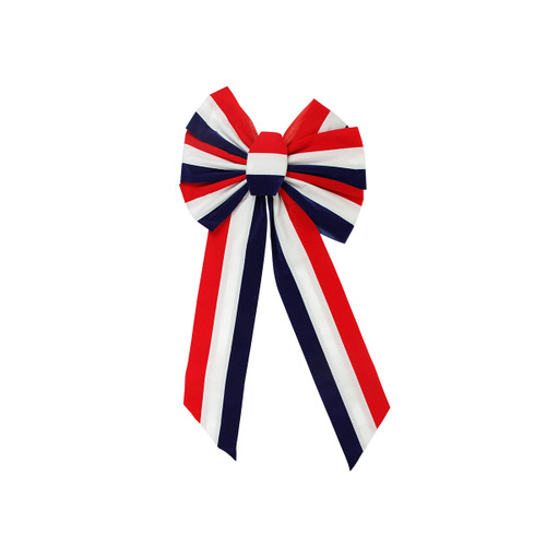 "14"" x 28"" Large Red, White and Blue Patriotic Striped Indoor Velveteen 6 Loop Wired Christmas Bow - 31364865"