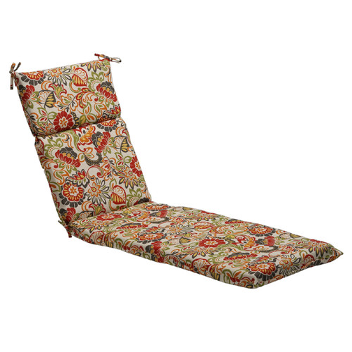 """72.5"""" Eco-Friendly Red Multi-Colored Retro Floral Outdoor Chaise Lounge Cushion - 28690709"""