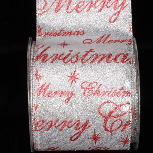 """Beautiful Shimmering Silver And Red """"Christmas"""" Wired Craft Ribbon 4"""" x 20 Yards - 31392053"""