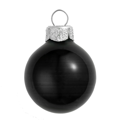 "6ct Shiny Black Glass Ball Christmas Ornaments 4"" (100mm) - 30939842"