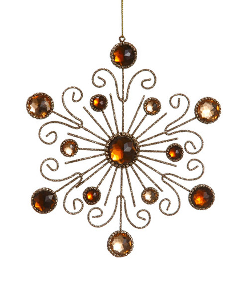 """6"""" Royal Symphony Bronze Gold Glittered and Jeweled Snowflake Christmas Ornament - 31106315"""