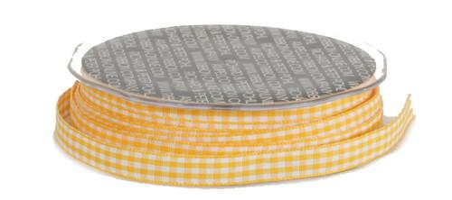 "Sunshine Yellow and White Vichy Check Woven Edge Craft Ribbon 3/8"" x 74 Yards - 31386311"