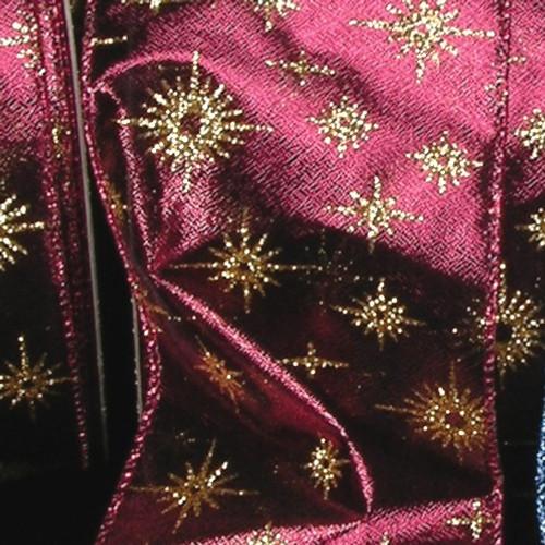 "Burgundy Lamé Glitter Star Wired Craft Ribbon 2"" x 40 Yards - 31388060"