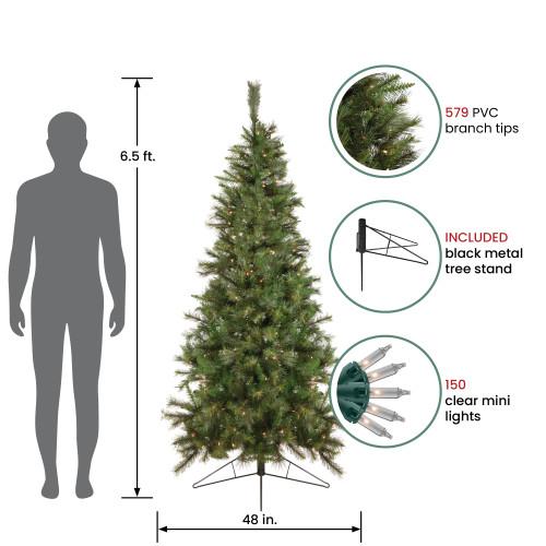 65 pre lit canyon pine artificial half wall christmas tree clear lights 32271949 - Half Christmas Trees