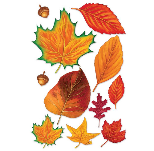 "Club Pack of 264 Colorful Fall Thanksgiving Leaves and Acorn Cutout Decorations 12"" - 31560079"