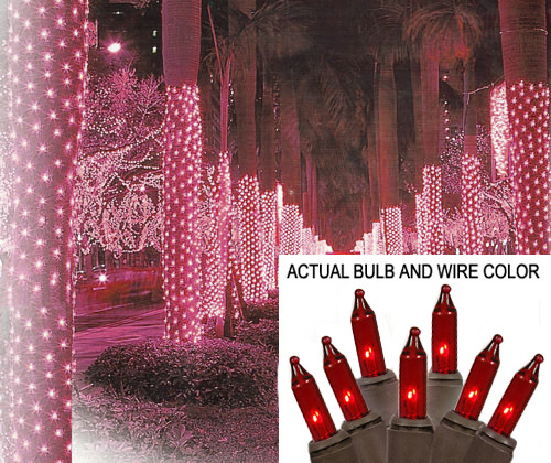 2' x 8' Red Mini Christmas Net Style Tree Trunk Wrap Lights - Brown Wire - 25250336