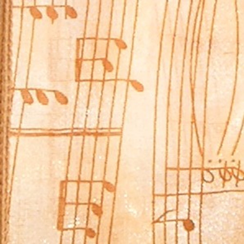 """Sheer Brown and Cream Musical Notes Wired Craft Ribbon 5"""" x 20 Yards - 31389593"""