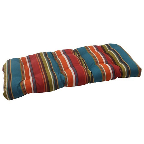 "44"" Moroccan Multi-color Striped Outdoor Patio Tufted Wicker Loveseat Cushion - 30951469"