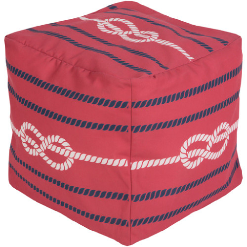 "18"" Ruby Red, Cobalt Blue and Ivory Knotted Rope Square Outdoor Patio Pouf Ottoman - 31087584"