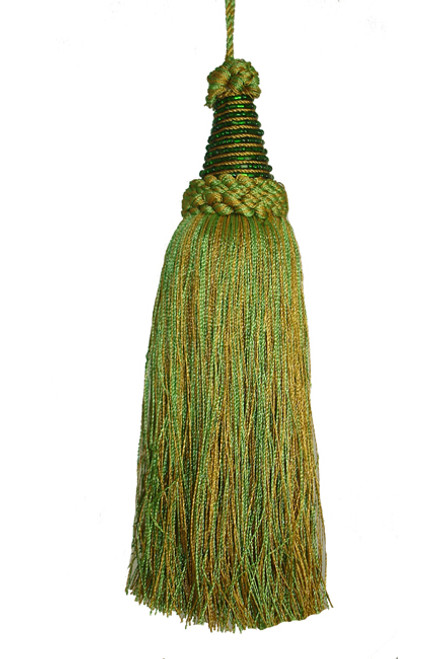 """Sugared Fruit Green and Ochre Beaded Tassel Christmas Ornament 8"""" - 11214452"""