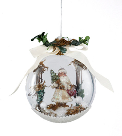 "4.5"" In the Birches Santa with Squirrel Winter Scene Christmas Disk Ornament - 31082444"