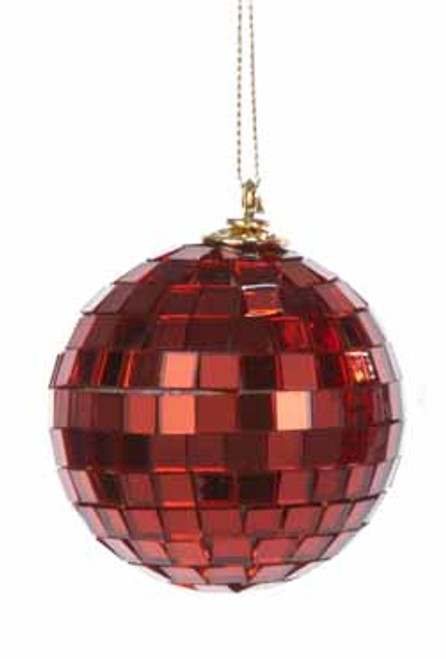 """Red Mirrored Glass Disco Ball Christmas Ornament 2.5"""" (60mm) - 30851429"""