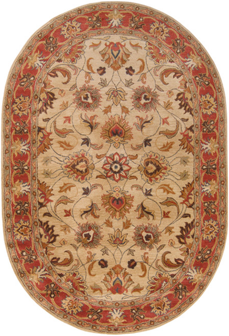 8' x 10' Augustus Russet and Burnt Sienna Hand Tufted Oval Wool Area Throw Rug - 28462781