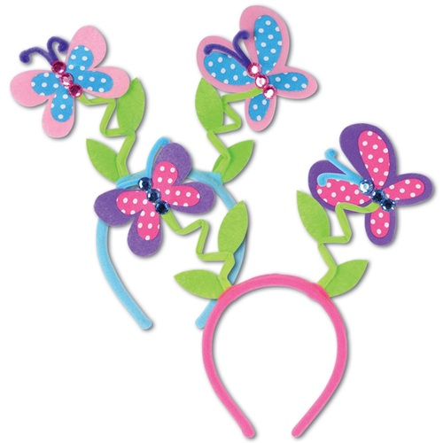 Club Pack of 12 Colorful Butterfly Boppers Headband Party Favors - 31563890