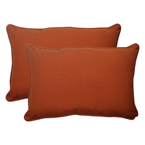 "Set of 2 Cinnamon Burnt Orange Outdoor Rectangular Throw Pillows 24.5"" - 30951800"