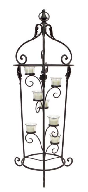 "33"" Decorative Black Metal Scrolled Votive Candle Holder Tree Stand - 31453598"
