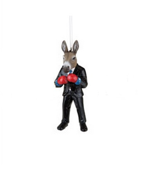"""4.5"""" Decorative Black and Gray Donkey Boxer in Suit Christmas Ornament - 31743064"""