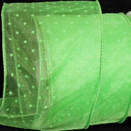"Sheer Lime Green Polka Dot Pattern Wired Craft Ribbon 4"" x 40 Yards - 31387366"