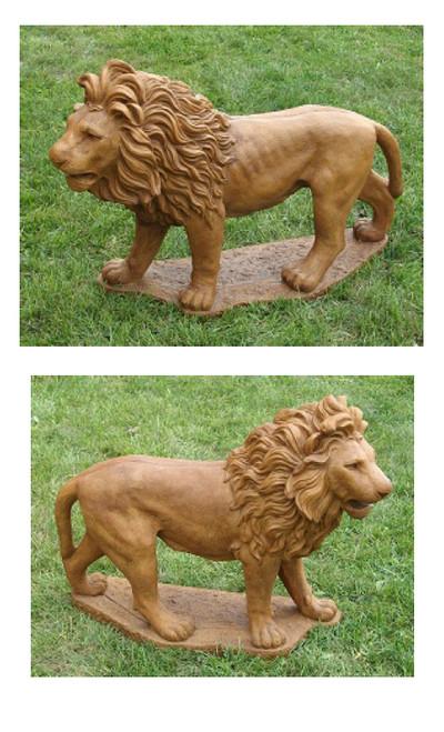 Set of 2 Majestic Lion Cast Stone Concrete Outdoor Garden Statues - 15733919