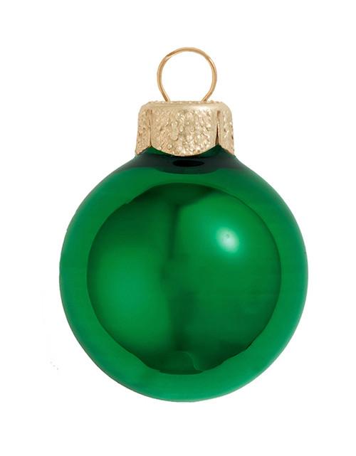 "6ct Shiny Green Xmas Glass Ball Christmas Ornaments 4"" (100mm) - 30939877"