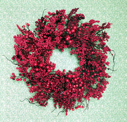 "22"" Festive Red Berry Artificial Christmas Wreath - Unlit - 31370602"