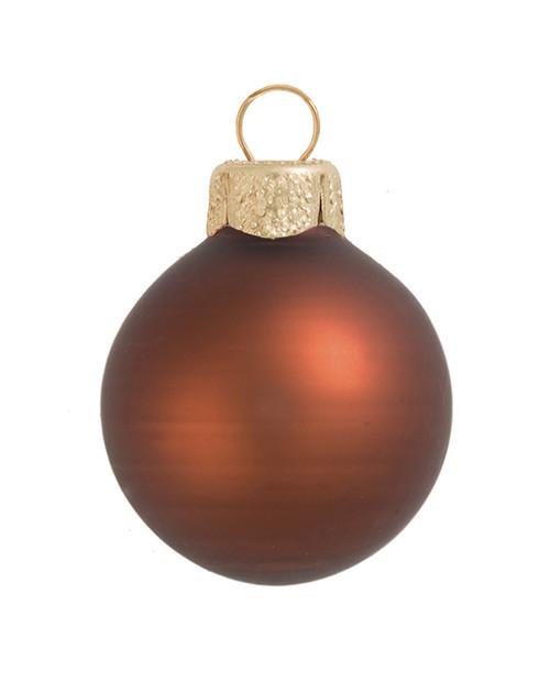 "12ct Matte Chocolate Brown Glass Ball Christmas Ornaments 2.75"" (70mm) - 30939625"