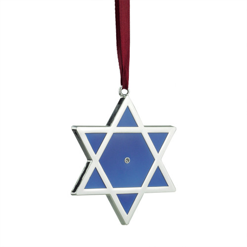 """3"""" Regal Shiny Silver-Plated Blue Star of David Hanukkah Holiday Ornament with European Crystal - 31740013"""