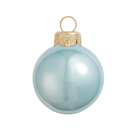 """2ct Pearl Sky Blue Glass Ball Christmas Ornaments 6"""" (150mmn) - 30940185"""