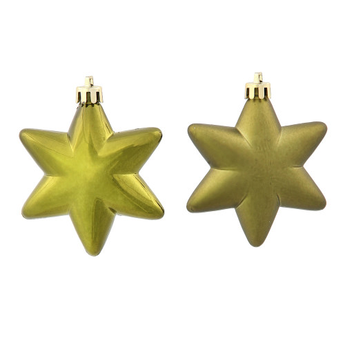 "36ct Matte & Shiny Olive Green Star Shatterproof Christmas Ornaments 1.5""-2"" - 31301191"
