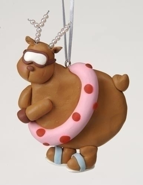 Swimming Chubby Diva Reindeer with Pearl Antlers Christmas Ornament #23108 - 6361355