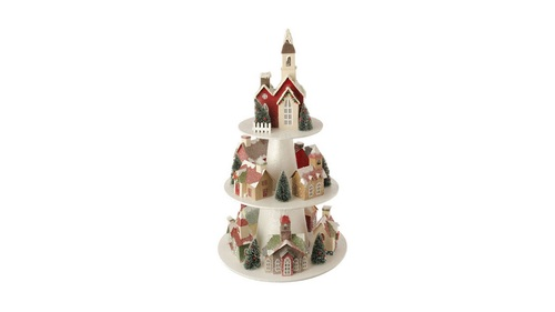 """26"""" Lighted Multi-Color 3-Tier Christmas House Display - 31466661"""