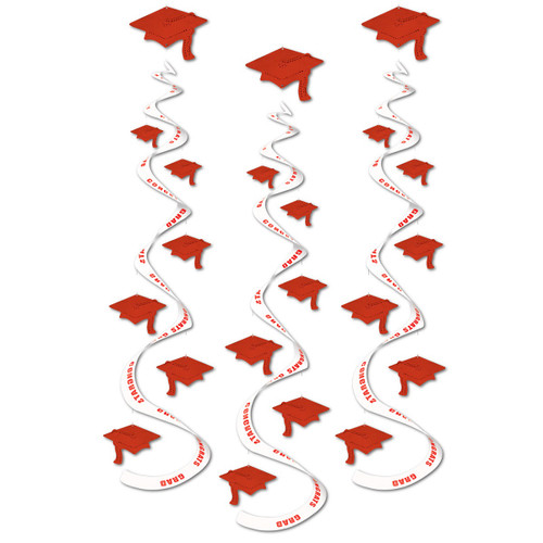 """Club Pack of 18 Printed Red """"Congrats Grad"""" Hanging Whirl Decorations 30"""" - 31557713"""