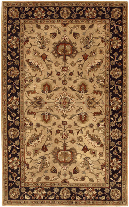 12' x 15' Los Cabos Parchment, Black and Cumin Hand Tufted Wool Area Throw Rug - 28463898