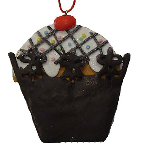 Sweet Memories Brown Cupcake with Cherry on Top Christmas Ornament - 16460608