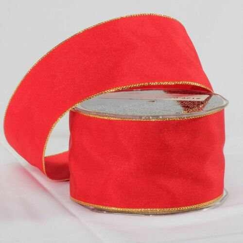 """Crimson Red and Gold French Taffeta Wired Craft Ribbon 2.5"""" x 27 Yards - 31386198"""