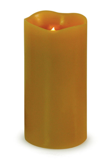 "6"" Tan Brown Battery Operated Flameless LED Lighted Wax Pillar Candle - 31067743"