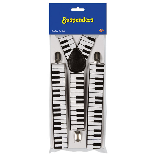 Club Pack of 12 Black and White Piano Keyboard Adjustable Suspender Costume Accessories - 31557389