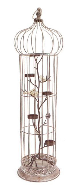 """36"""" Rustic Chic 5-Tea Light Candle Holder Bird Cage with Spotted Bird Accents - 31356156"""