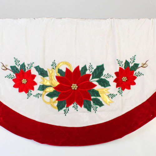 """48"""" White Poinsettia with Ribbon and Beads Christmas Tree Skirt - 30852708"""