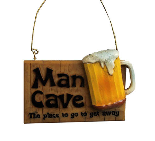 "3.5"" Man Cave The Place To Go Get Away Beer Plaque Christmas Ornament - 31348531"